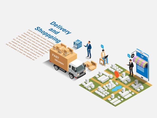 Mercato isometrico e acquisti online. concetto isometrico