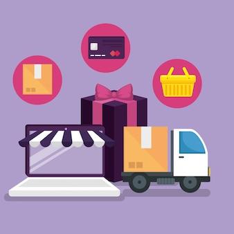 Mercato online con smartphone per fare acquisti