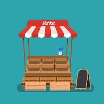 Mercato tradizionale vuoto cibo in legno