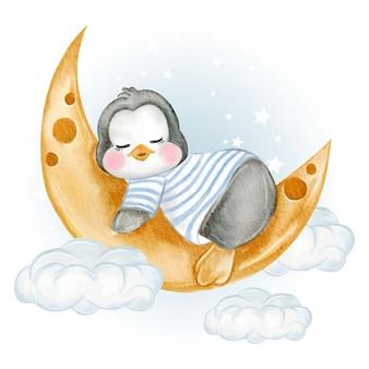 Merda di pinguino bambino sopra le nuvole con l'ombrello