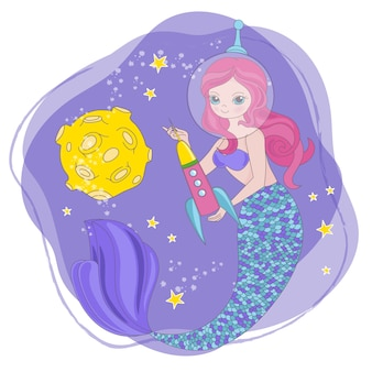 Mermaid rocket space cartoon princess