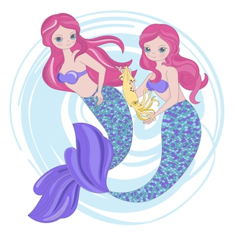Mermaid squid princess sea animals