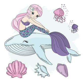 Mermaid walk princess sea underwater vector