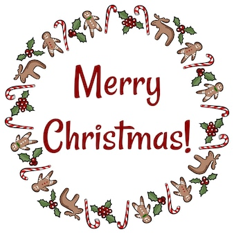 Merry christmas agrifoglio e biscotti di zenzero ghirlanda