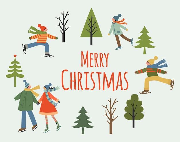 Merry christmas card con alberi, gente di pattinaggio.