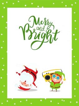 Merry christmas card con babbo natale ed elfo