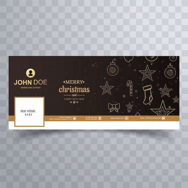 Merry christmas card con banner di facebook