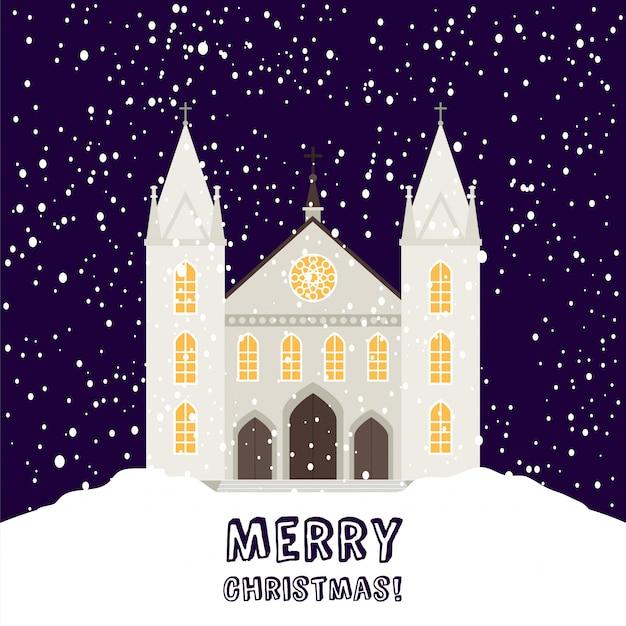 Merry christmas card con chiesa