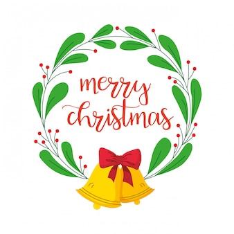 Merry christmas card con corona di alloro