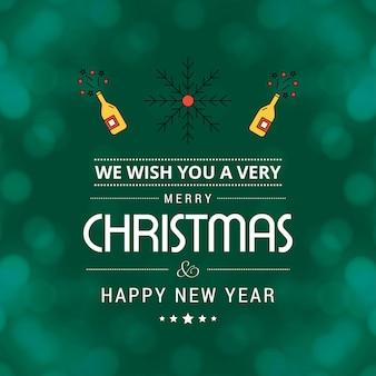 Merry christmas card con design creativo e sfondo chiaro