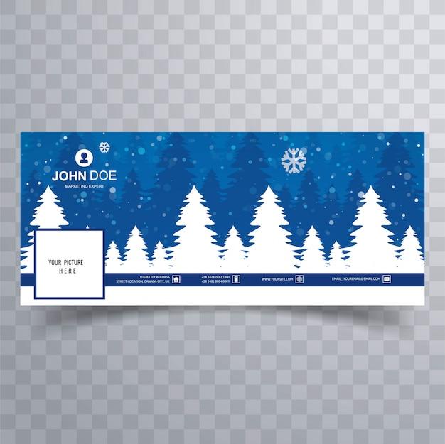 Merry christmas card con modello di banner copertina di facebook