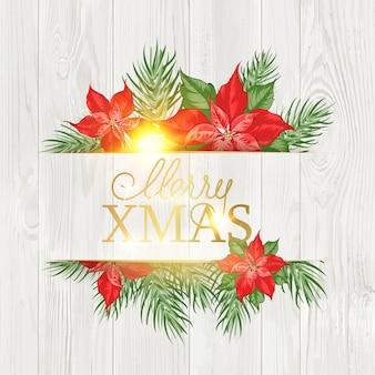 Merry christmas card con motivo floreale poinsettia