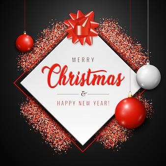Merry christmas card con palline bianche e rosse, glitter brilla su sfondo scuro
