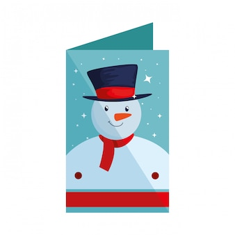 Merry christmas card con pupazzo di neve