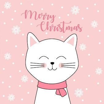 Merry christmas card con simpatico gatto