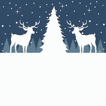 Merry christmas card di albero e renne nella neve