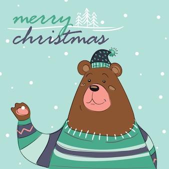 Merry christmas card di orso con sciarpa