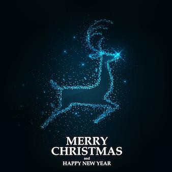 Merry christmas card renne di natale