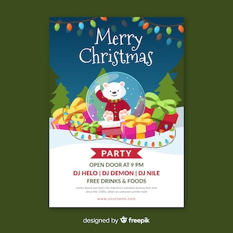 Merry christmas party poster in design piatto