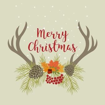 Merry christmas retro poster hipster con lettering a mano, antlers e fiori. questa illustrazione può essere utilizzata come biglietto di auguri, poster o stampa