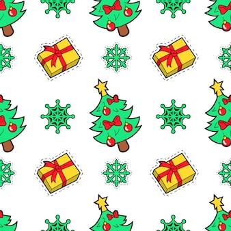 Merry christmas seamless pattern con regali di natale e calze. carta da regalo per le vacanze invernali.