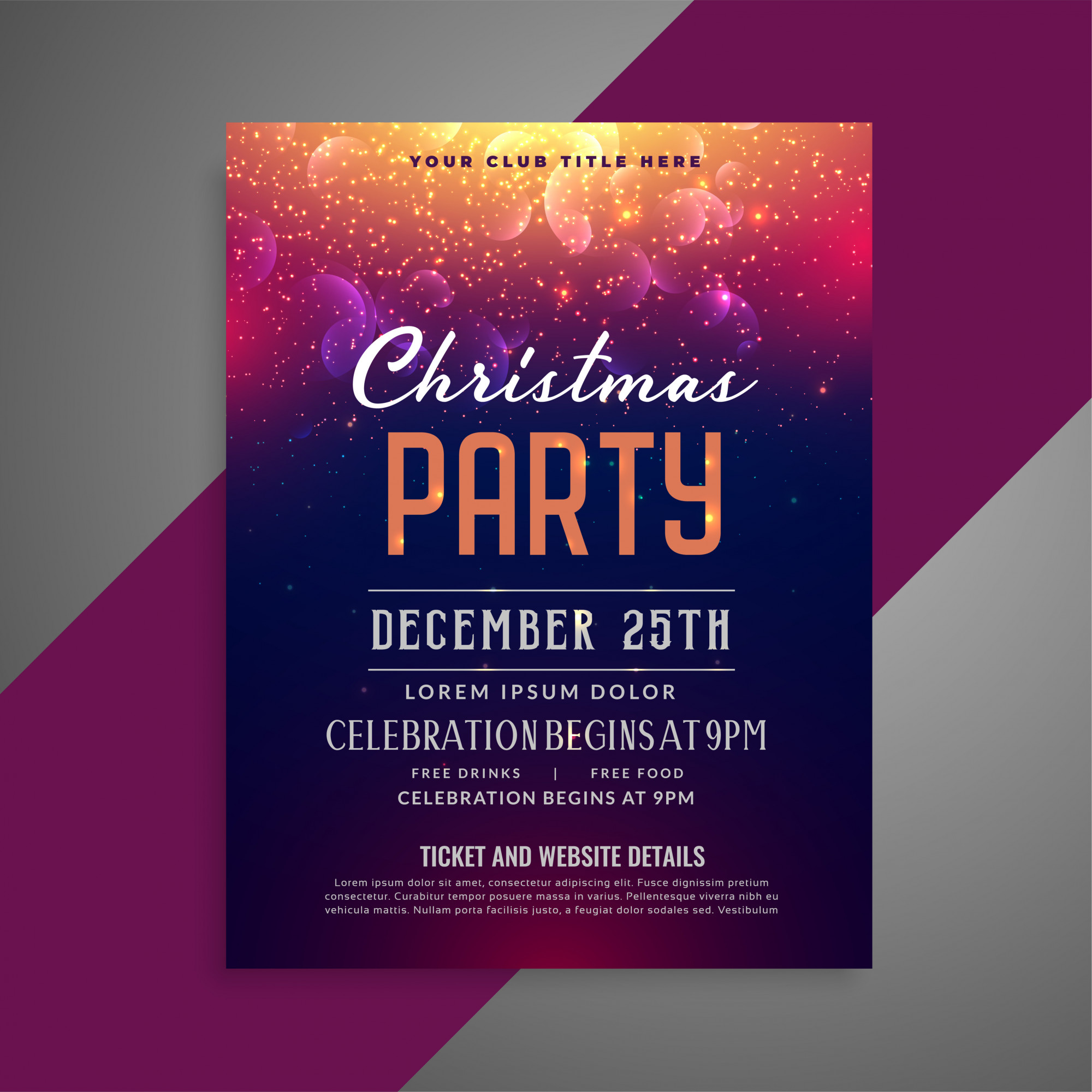 Merry christmas sparkles partito poster flyer design template