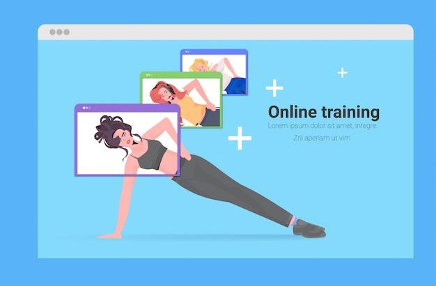Mescoli le ragazze di concetto nelle finestre del browser web che elaborano l'illustrazione integrale dello spazio orizzontale della copia