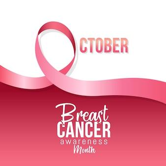 Mese di consapevolezza del cancro al seno ad ottobre con nastro rosa realistico