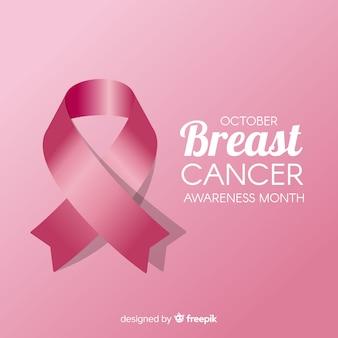 Mese di consapevolezza del cancro al seno con nastro realistico