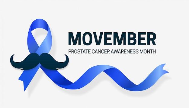 Mese di sensibilizzazione sul cancro alla prostata movember, design della campagna con nastro blu e baffi