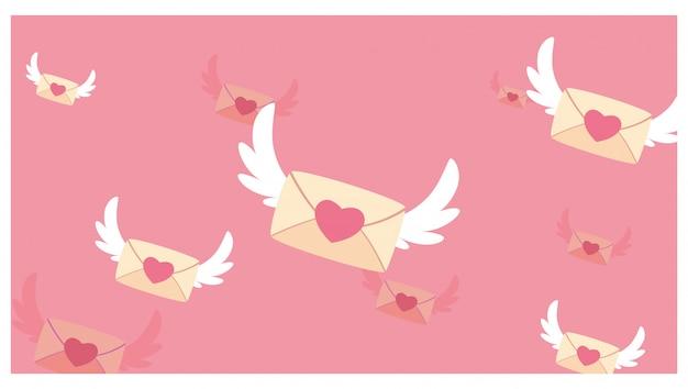 Messaggi d'amore con l'illustrazione delle ali