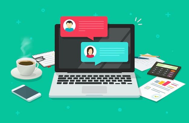 Messaggi di chat sul computer portatile online nell'illustrazione piana del fumetto di vista del piano d'appoggio dello scrittorio del lavoro