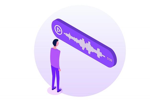 Messaggi vocali isometrici, notifica eventi. illustrazione