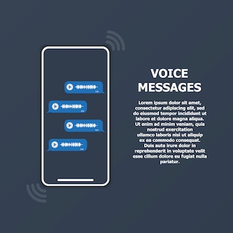 Messaggi vocali sullo schermo del telefono e testo a destra.