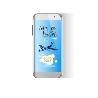 Messaggio della società di viaggi sullo schermo del telefono cellulare pubblicità dell'agenzia turistica