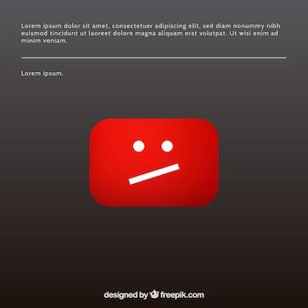 Messaggio di errore di youtube con design piatto