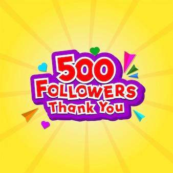 Messaggio di ringraziamento per 500 follower con piccole forme di cuore