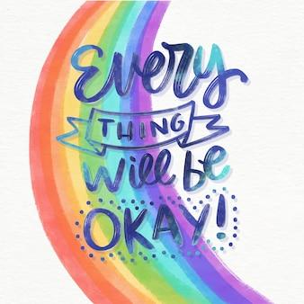 Messaggio positivo con arcobaleno