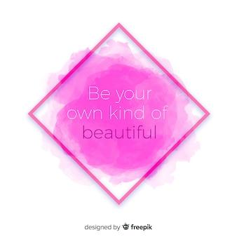 Messaggio positivo sulla macchia rosa dell'acquerello