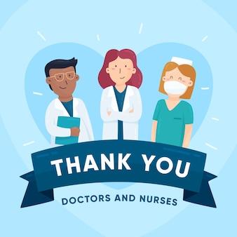 Messaggio riconoscente per l'illustrazione di infermieri e medici