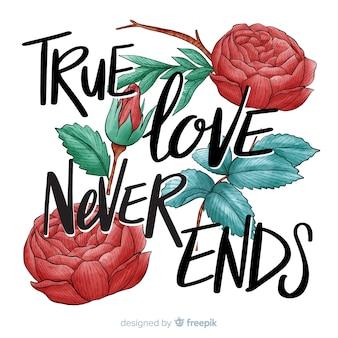 Messaggio romantico con fiori