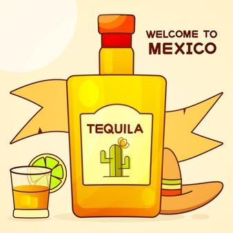 Messicano con una bottiglia fantasia di tequila. nome tequila fancy aggiunto. modello