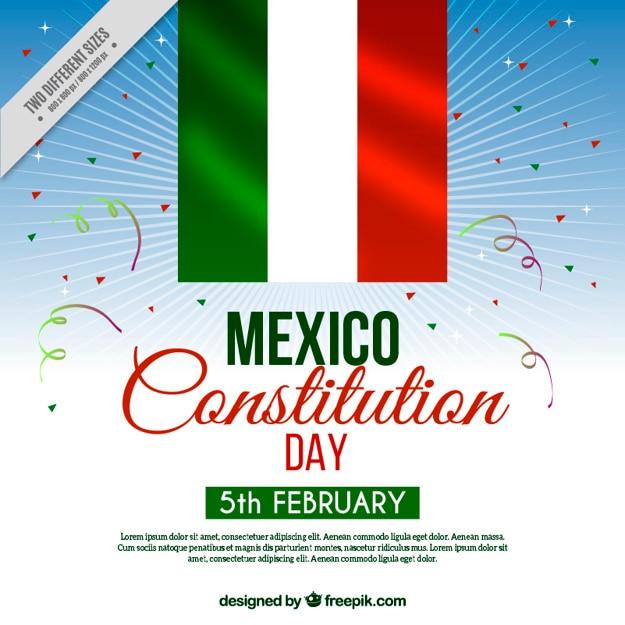 Messico costituzione sfondo giornata con la bandiera