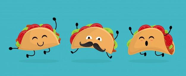 Messico taco impostato in stile cartone animato