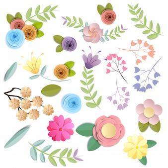Mesti i fiori di carta, il mazzo floreale festivo, clipart della natura isolati su fondo bianco, vettore