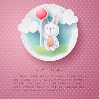 Mestiere di carta della cartolina d'auguri del coniglio di colore di acqua