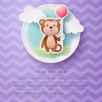 Mestiere di carta della cartolina d'auguri della scimmia di colore di acqua
