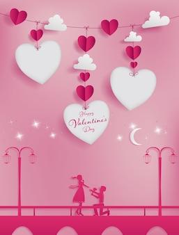 Mestiere di carta della concezione di san valentino con tre fustellati.