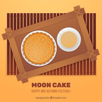 Metà di sfondo autunnale con torta di luna