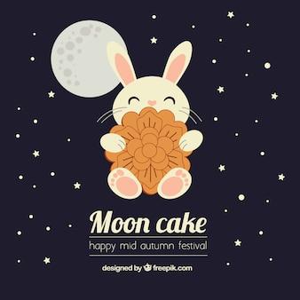 Metà di sfondo festival autunnale con torta di luna